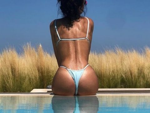Eleni Foureira Thong Bikini Pool Vacation Kanoni 2
