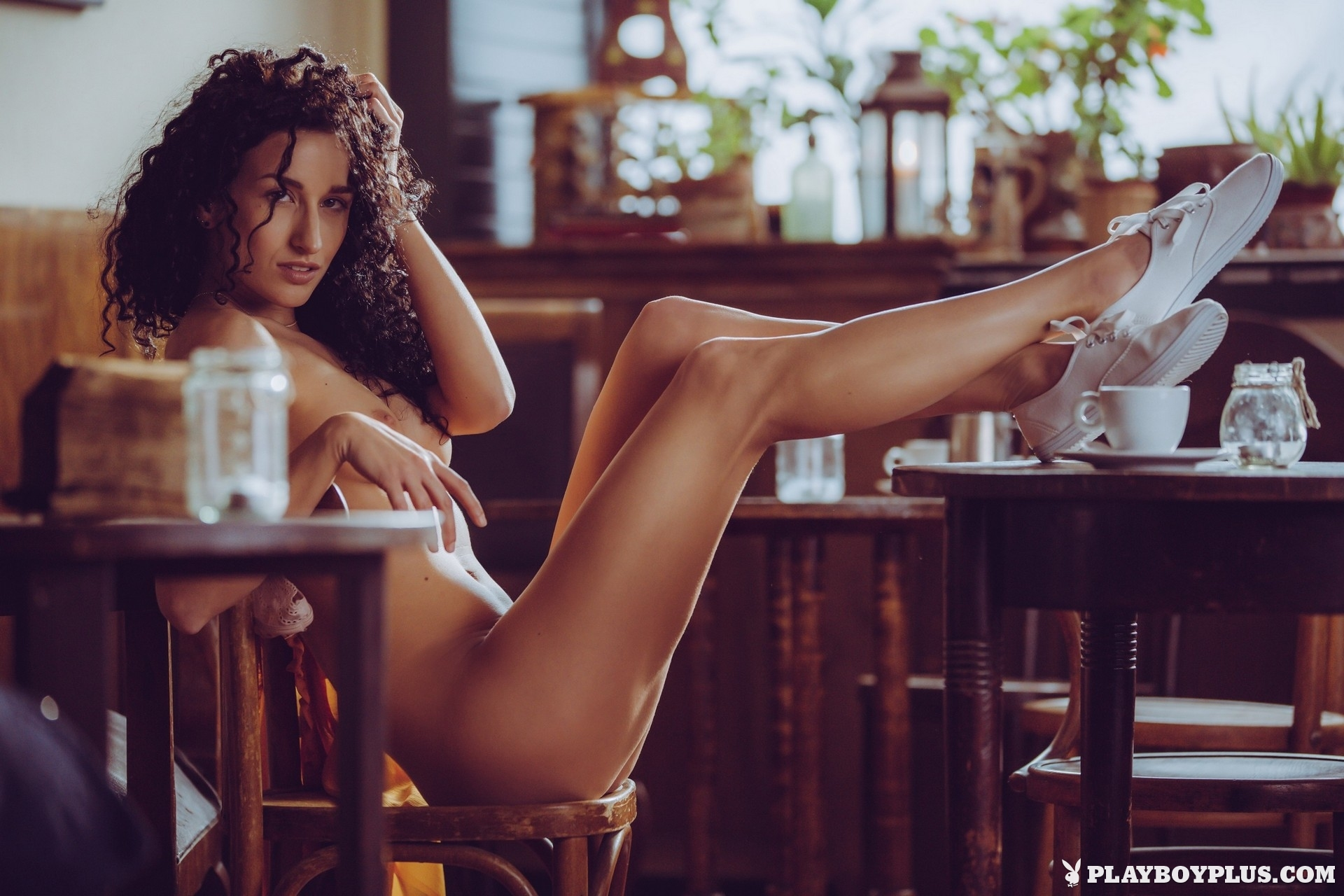 Celebrate National Coffee Day Lucy M In Café Au Lait Playboy Plus (9)