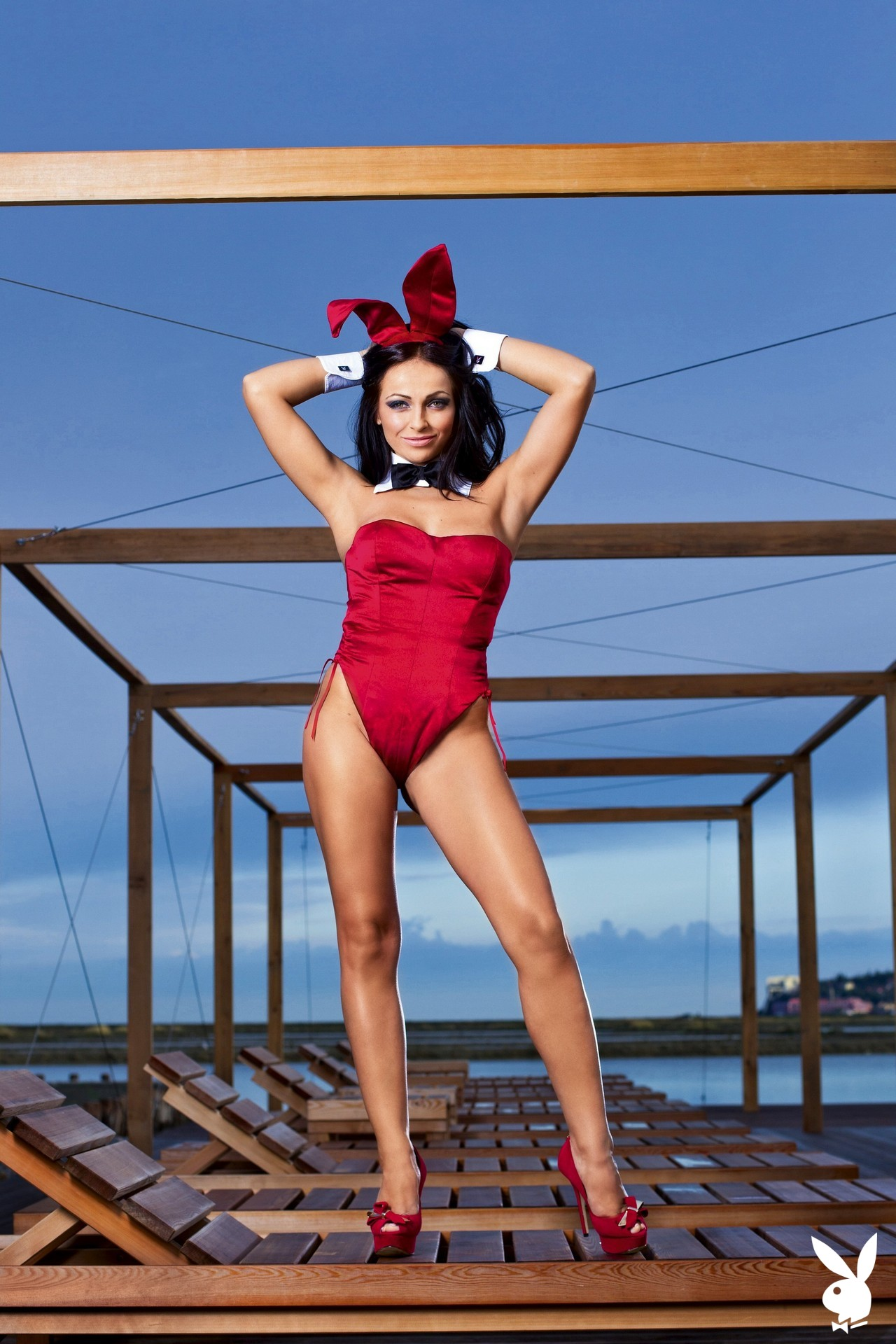 Bunny Costume, Spa, Resort, Sea Side, Deck Chair, Lounge Chair, Stiletto Heels