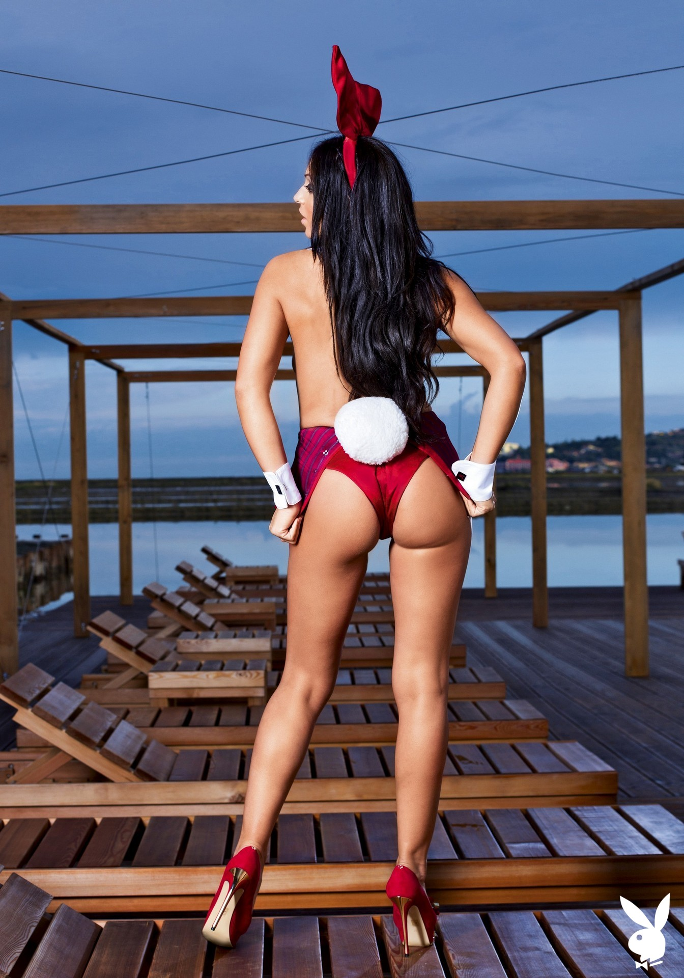 Bunny Costume, Spa, Resort, Sea Side, Deck Chair, Lounge Chair, Undressing, Stiletto Heels